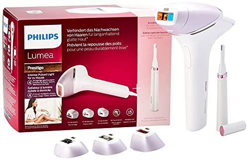 Philips Lumea Prestige IPL BRI949 – Depilación basada en luz para una piel lisa y duradera – Incluye 4 cabezales especiales para cuerpo, cara, zona del bikini, axilas