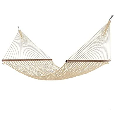 Project One Large 12FT Rope Hammock, Quick Dry Rope Hammock with Double Size Solid Wood Spreader Bar Outdoor Patio Yard Poolside Hammock, 2 Person 450 Pound Capacity (Cream)