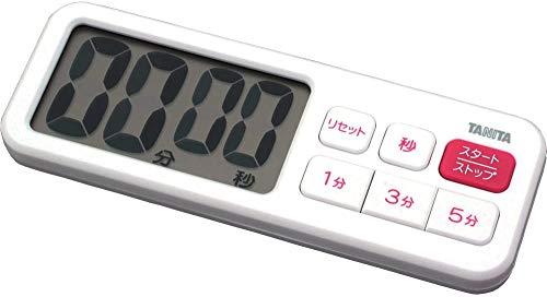 タニタ キッチン タイマー マグネット付き 大画面 100分 ホワイト TD-395 WH でか見えプラスタイマー