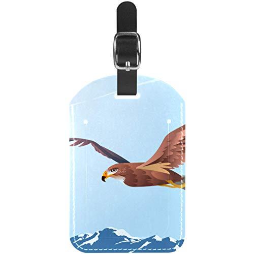 Etiquetas de equipaje Buzzard Eagle volando sobre montañas de cuero, etiquetas para maleta de viaje, 1 paquete