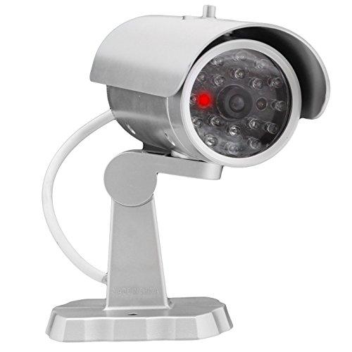 Dummy Fake bewakingscamera met knipperlicht in zilver - ziet eruit als een echte