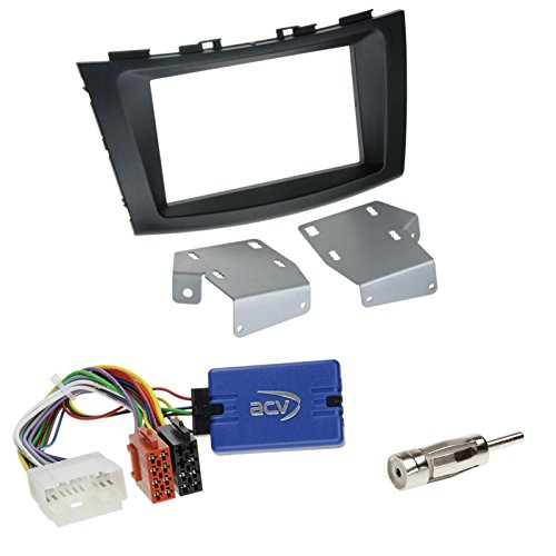 Einbauset: Suzuki Swift (FZ/NZ) ab 09/2010 2-DIN Radioblende in schwarz + Pioneer Lenkradfernbedienungs Radio Adapter + Antennenadapter DIN