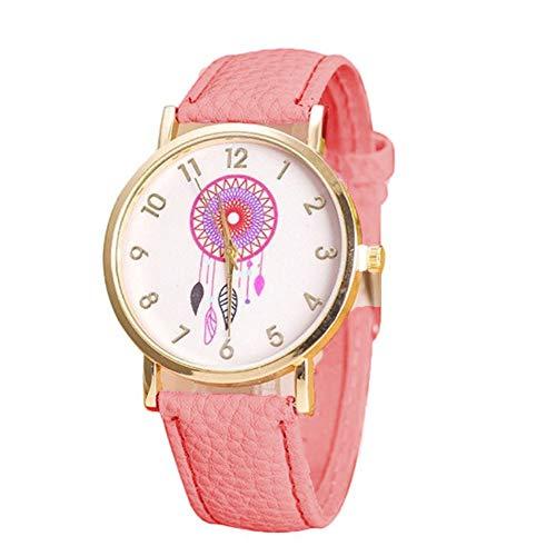 Reloj a Cuarzo analógico Reloj décontractée Reloj de Pulsera Reloj de Moda Vogue Relojes Hombre Mujer Ultra Fino Reloj de cinturón muñecas Prendas delicadas de Atrapasueños (Rosa) X 1