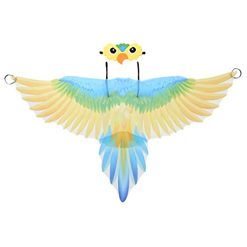 Yeahdor Kinder Papagei Flügel Umhang Kostüm & Maske Vogel Cape Karnevalskostüm für Auftritt Performance Verkleidung Gelb One Size