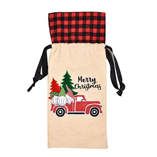 AchidistviQ Weihnachten Weihnachtsbaum Drucken Wein Champagner Flasche Abdeckung Strumpf Für Home Party Geschenk Tasche Dekoration Wagen#