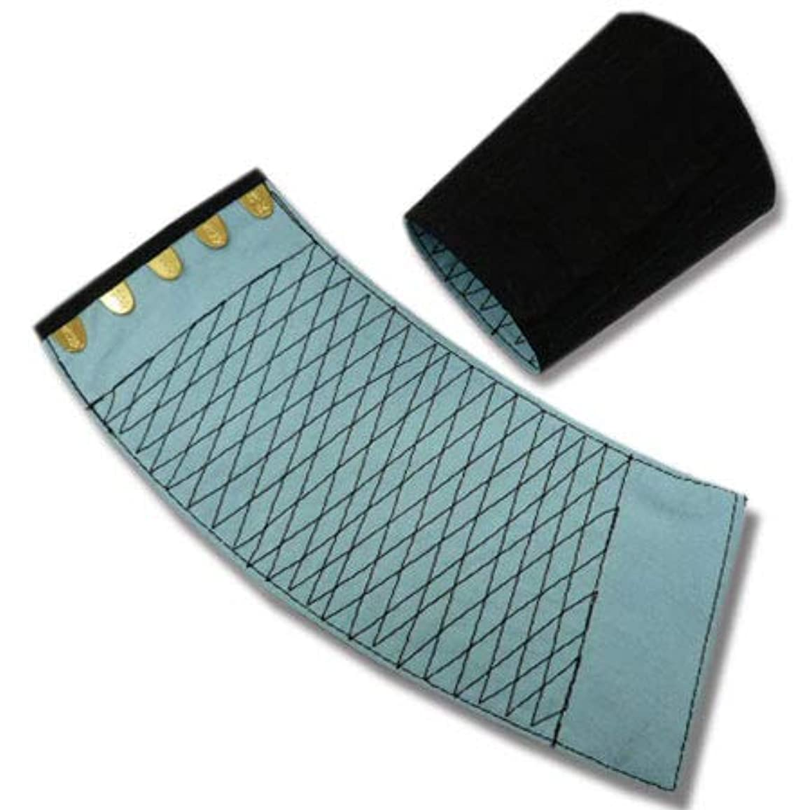 卵鋸歯状合計[きねや] 手甲 5枚コハゼ 「きねや無敵」 青縞手甲(藍染)腕貫 幅約10.7cm 5双セット