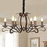 Jaycomey Rustic Chandelier,6-Lights Farmhouse Candle Iron Chandelier,Vintage Bronze Pendant Chandelier Lighting for Dining Room Living Room Bedroom,Dia 31'