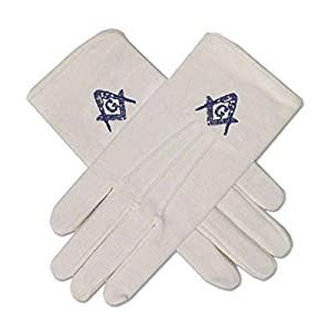 Blue Square & Compass Masonic Embroidered Cotton Gloves – [White]