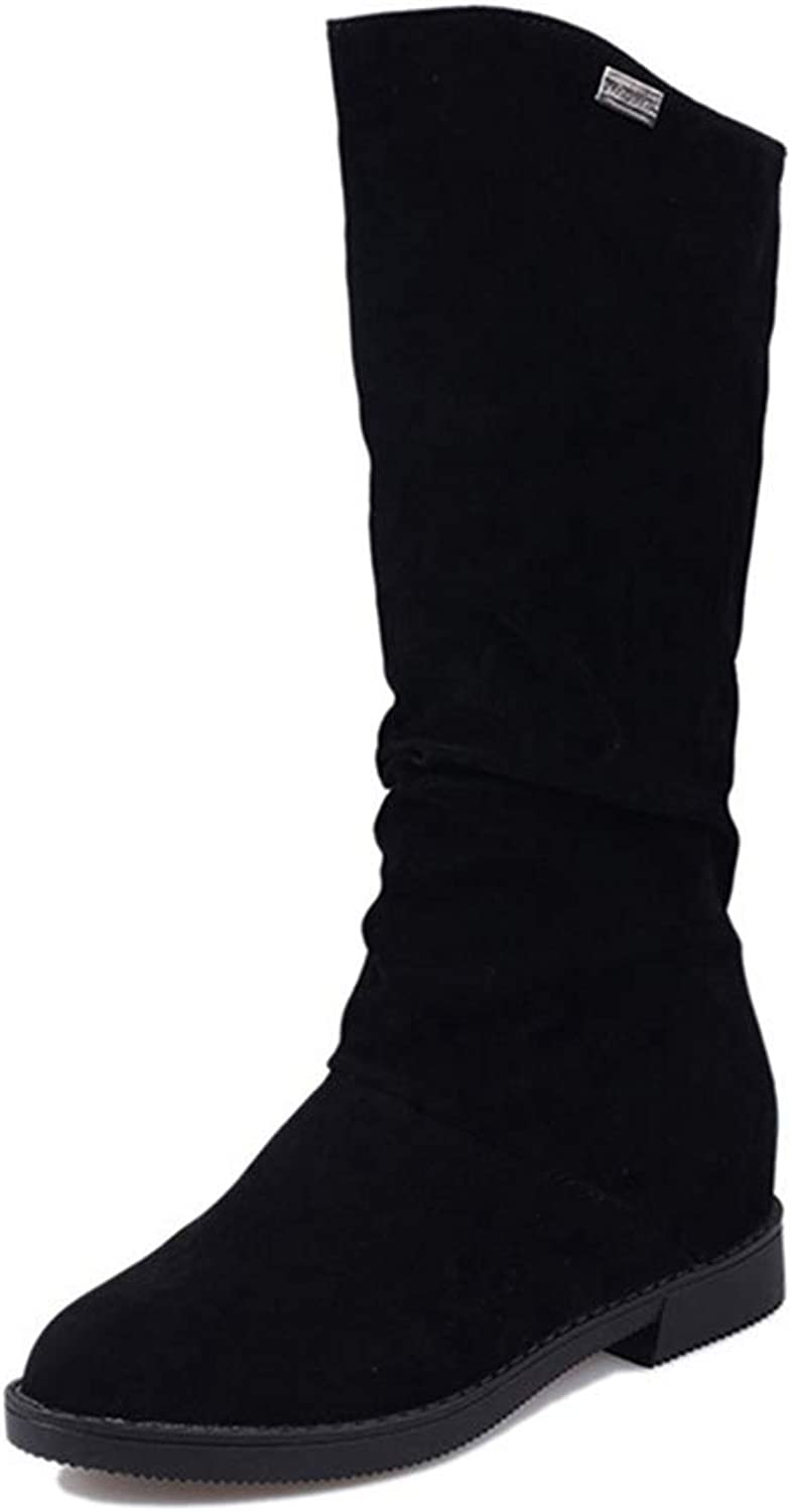 T-JULY Autumn Winter Female Boots Matte Flock shoes Ladies Height Increased Low Heel shoes Woman Mid Calf High shoes