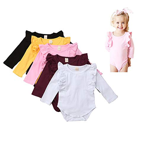 Infant Baby Girls Ruffle Long Sleeve Romper Jumpsuits Top Clothes,0-24 Months (3-6 Months, Wine red)