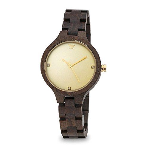 WOODSTAR (MATIS) Reloj de Madera para Mujer, Dial Dorado con Detalles Cristales...
