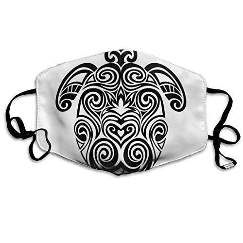 Bequeme Winddichte Maske, Monochrome Schildkröte mit blühendem Lotus und wirbeln Maori-Kulturmotive für Erwachsene