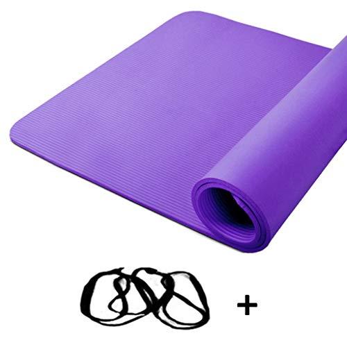 Yogamat, antislip, zeer dik, groot, pilatesmat, riem en tas, 200 x 130 cm, dikte 10 mm en 15 mm (grootte: Purple-Strip Rope, maat: 15 mm)