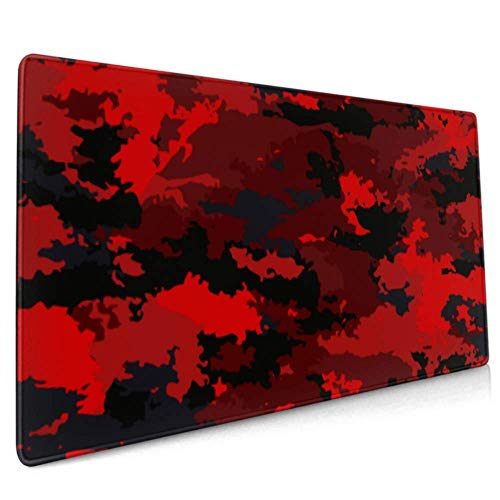 Gaming Mouse Pad Camouflage Military Camouflage Bright Red Extended Mouse Pad Large Big Computer Keyboard Mouse Mat Desk Pad with Non-Slip Base for Home Office Gaming Work, 35.4x15.7inch