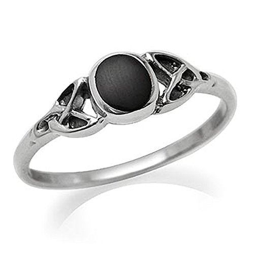 Silvershake Petite Created Black Onyx Inlay 925 Sterling Silver Celtic Knot Ring Size 6