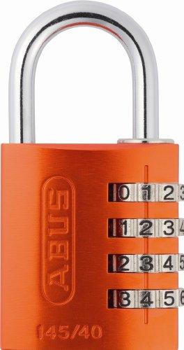 ABUS 145/40 C Aluminum Resettable Combination Padlock, 4 Dial, Orange