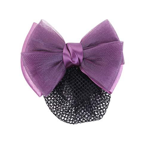 Minkissy Chignon Couvre Snood Net Barrette Pince à Cheveux Arc Cheveux Net Accessoires Élastique pour Femmes Dames Madame (Violet)
