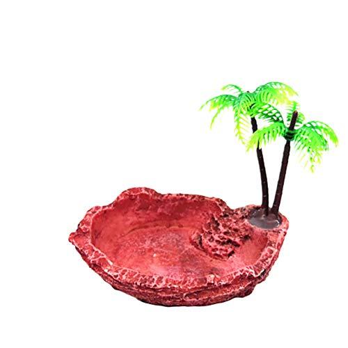 ppactvo Decoracion Pecera DecoracióN Acuario Tortuga Reptil Comida Agua Cuenco Decoracion Peceras Y Acuarios con El Plastico ÁRbol De Coco Adornos para Peceras 7