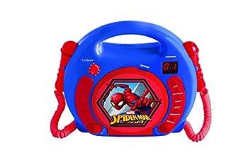 LEXiBOOK Marvel Spider-Man Peter Parker CD Player for Kids with 2 Toy Microphones Headphones Jack with Batteries Blue RCDK100SP