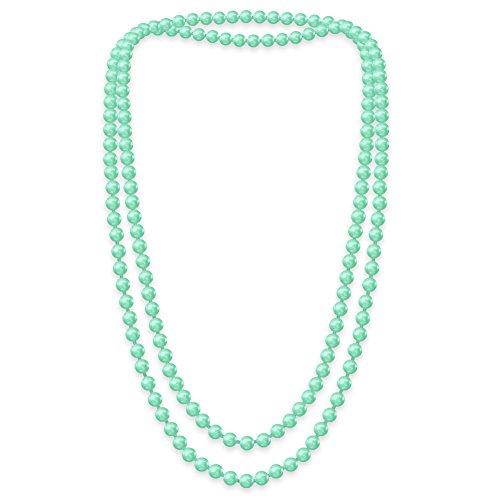 SoulCats Eine süße Kette Perlenkette Perlen viele Farben XXl lang pink blau creme, Farbe:mint;Kettenlänge:148 cm