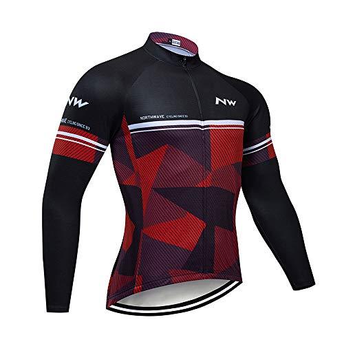 Ropa Camiseta Bicicleta Largo Térmico, Maillot Ciclismo Invierno Hombre Invierno de Manga Larga