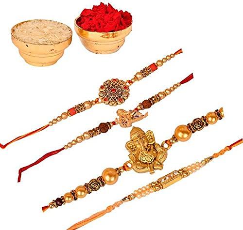 Combo Rakhi para hermanos con Roli & Chawal   Rakhi para Raksha Bandhan Festival (4 Rakhi)