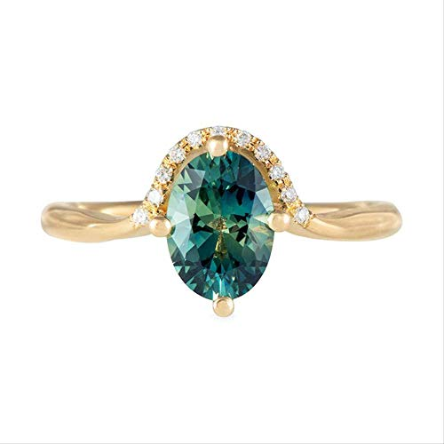 IWINO Accessoires Simple Fashion Green Zircon Ring Dames 18K gouden verlovingsring Ring
