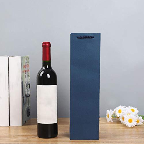 AUTUUCKEE 12 bolsas de regalo de vino bolsa de almacenamiento reutilizables botellas de vino papel resistente (azul)