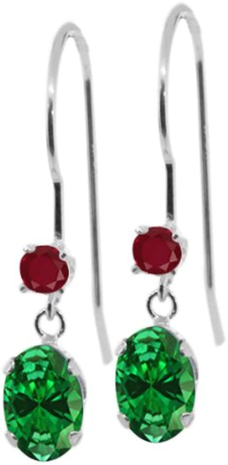 1.60 Ct Oval Green Simulated Emerald Red Ruby 14K White gold Earrings
