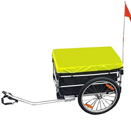 KUHO Portaequipajes multifunción para remolque de bicicleta con dos ruedas de bicicleta grandes, cargo Wagon Trailer, tejido de Oxford, equitación Camping Deposito, equipaje