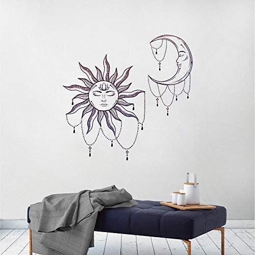 Versión plegable de abstracto sol y luna pegatinas de pared fondo de la sala de estar decoración de la pared pegatinas de pared 60 * 90 cm