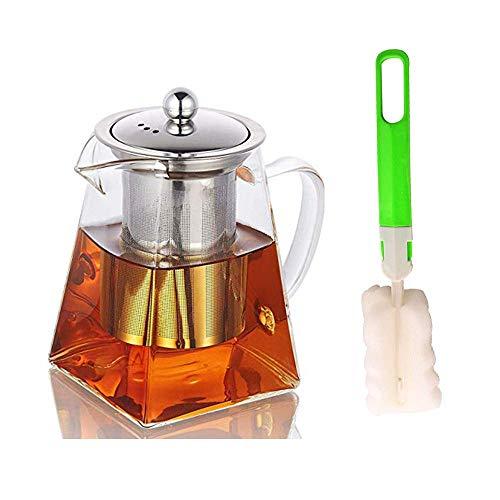Théière en verre avec infuseur, Théière en verre avec brosse à tasse,Théière en verre résistant à la chaleur avec infuseur amovible, Théière en verre borosilicate transparent pour thé en vrac 550 ML