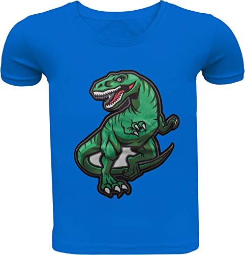 Dino Kinder Jungen T-Shirt Wendepailletten Kurzarm Shirt Hemd Polo Rundhals Freizeit (134-140, Blau)