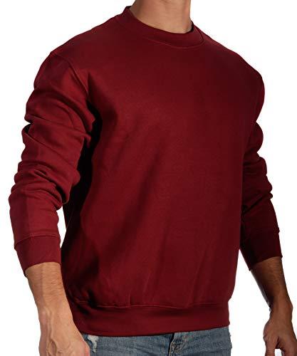13MW Sudadera Básica Hombre | Estilo Clásico | Algodón | Cuello Redondo (Granate, M)