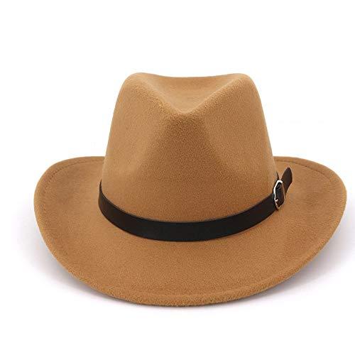 JIANGJINLAN heren dames wol Fedoras hoed heren individuele hoed driegaats wollen muts Australian Fedora Fashion Unisex Panama Jazz Hoed 56-58 koffie