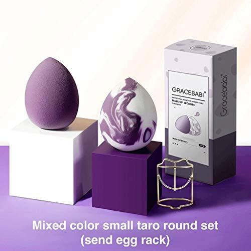 YQ 2 pièces Mixtes Couleur Petit Taro Round Beauté Egg Set Maquillage Rapide sans Poudre Éponge (Color : Mixed Color Set (Send Egg Rack))