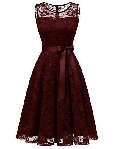 Dressystar DS0009 Abendkleid Ärmellos Kurz Brautjungfern Kleid Spitzen Rundhals Damen Kleider Burgunderrot XS