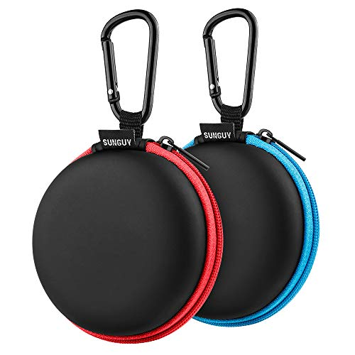 SUNGUY Earbuds Cases, 2Pack, Red+Blue Round Fashion Travel Pocket Earbud Carrying Case with Carabiner for Earphone, Wireless Headset Hard Storage Bags Headphone Box, MP3 USB Cable