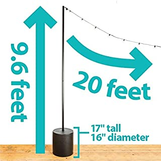 IYN Stands Outdoor String Light Base Tank Stand, 9.6 Feet, Durable Powder Coated Steel Pole with Tank Weather Resistant Backyard, Patio, Deck, Wedding, Event, Trade Show, USA Made - Black