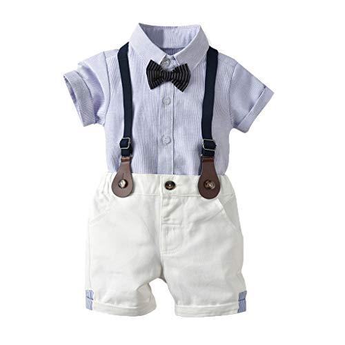 Riou Bekleidungsset Kleinkind Kinder Baby Jungen Kinderanzug Babykleidung Junge Gentleman Anzüge Hochzeit Hemd+Shorts+Bogen Dreiteiligen 0-4 Jahre (120, Blau 2)