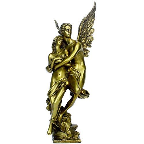 "Golden Brass Lovers Angel Statue 11.1""(H) Home Decor Romantic Greek Mythology Loving Couple European Style Sculpture Gift PTZY003"