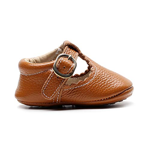 HONGTEYA Leather Leopard Baby Shoes Hard Sole T-Strap Boys Girls Moccasins for Infants Babies Toddlers (18-24 Months/ 7 M US Toddler, Brown)