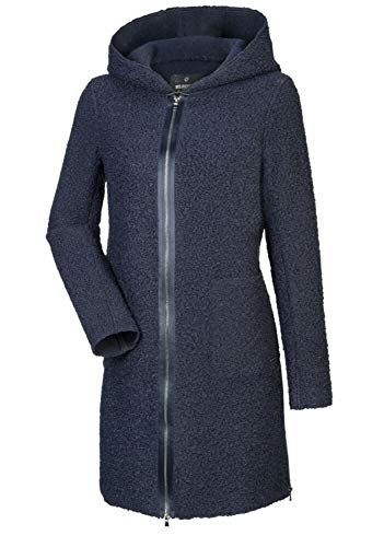 MILESTONE Damen Mantel Wollmantel Wintermantel Benita Navy Blau Rot mit Kapuze (38, Navy)