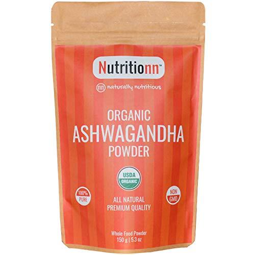 Organic Ashwagandha Powder by Nutritionn - 100% Pure Natural Premium Whole Food Supplement - 150 g