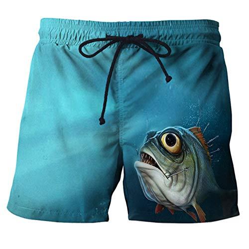 CJF Mens 3D Beach Shorts, 3D Vissen Gedrukt Strand Shorts, Hipster Creatieve Snel Droog Surfen Zwembroeken, Grappige Zwemmen Trunks,voor Mannen Jongens Tieners