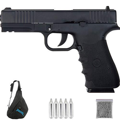 Stinger 17 blowback | Pack Pistola de balines (perdigones Bolas de Acero BB's). Arma de Aire comprimido CO2 Calibre 4,5mm <3,5J