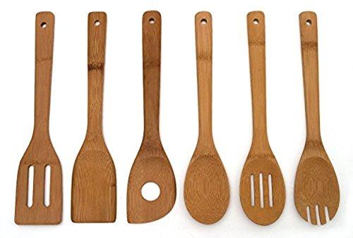 Aikesi 6 Piezas de Utensilios de bambú y Soporte de Madera 100% Natural por Simply Natural Bliss Que es ecológico - cucharas de Cocina