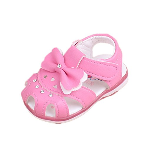 Auxma Baby Schuhe für 3-18 Monate, Baby Mädchen Bowknot Sandalen beleuchtete Soft-Soled Prinzessin Schuhe (13cm/12-18 M, Rose)