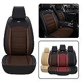 Fundas para Asientos de Coche Universal PU Leather Estándar delanteros 2 asientos para Peugeot 206 206CC 207 207CC 307 307SW 308 308CC 308GT Cubreasientos Accesorios Coches Funda Asientos(Negro Café)