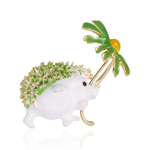 Lovely Hold Daisy Flower Erizo Broches Mujeres Animal Pet Party Oficina Causal Broche Pins Regalo